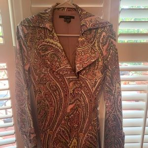 Zara paisley print belted trench coat, size small